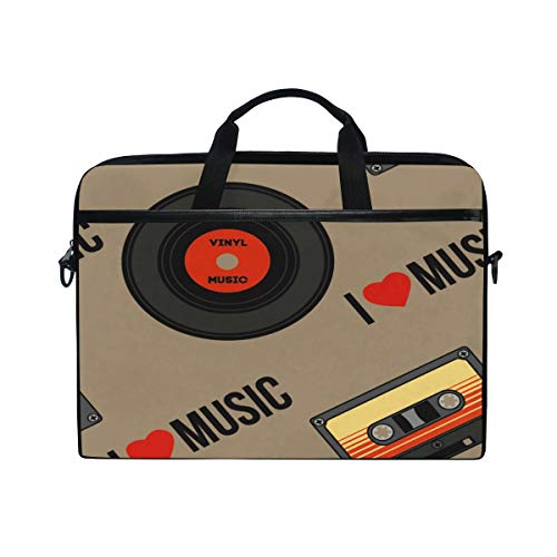 HaJie Laptop-Tasche Musik CD Tape Kassette Zitat Computer Fall 14-14,5 in Schutztasche Reise Aktentasche mit Schultergurt für Männer Frauen Jungen Mädchen