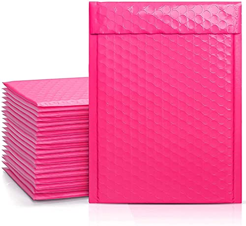 Metronic Hot Pink Bubble Mailers 25 Pack, 6x10 Bubble Poly Mailers, Self-Seal Shipping Bags, Padded Envelopes, Bubble Polymailers for Shipping, Mailing, Packaging for Small Business, Bulk #0