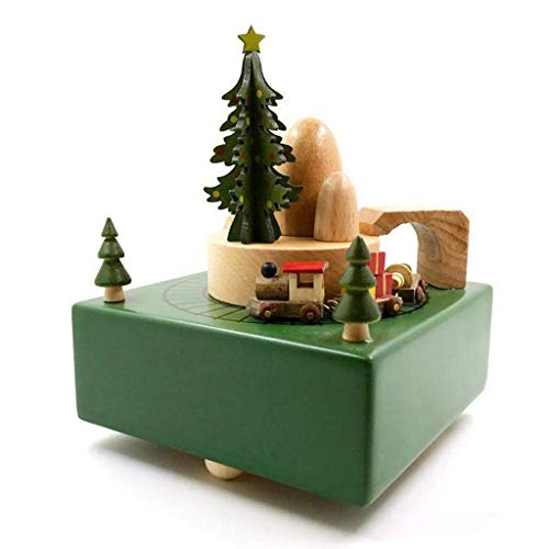 """Music Box Delightful Quality Wooden Musical Box Featuring Christmas Theme & Mountain Tunnel with Small Moving Train,Green Music Box Best Gift For Kids and Friends   Plays """"Merry Christmas"""" Song Clockw"""