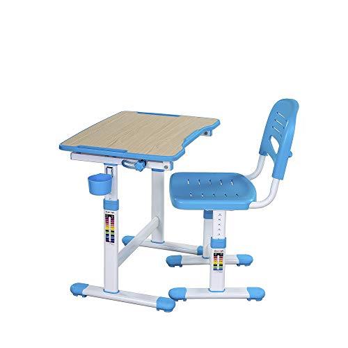 FD FUN DESK Blue Idimex Piccolino II-Escritorio Infantil (Altura Regulable, con Silla), Azul, 664x474x540-760 mm