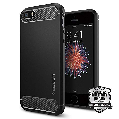 Spigen Cover iPhone 5S, Cover iPhone SE 2016 Rugged Armor Progettato per iPhone 5S / 5 / SE 2016 Cover Custodia - Nero