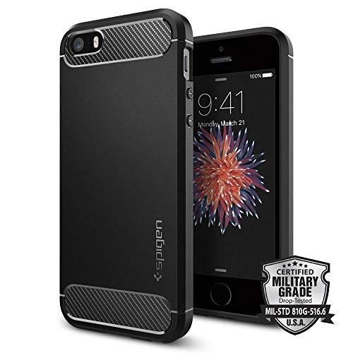 Spigen Cover iPhone 5S, Cover iPhone SE / 5 [Rugged Armor] Impressionante Black - Massima Protezione da Cadute e Urti, Cover Custodia iPhone 5S, Custodia iPhone SE / 5 (041CS20167)