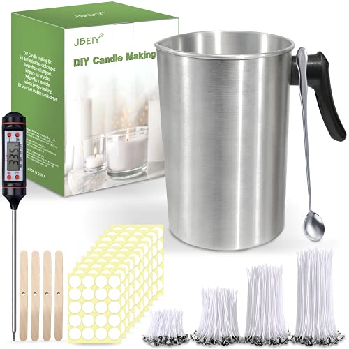 JBEIY 3L Candle Wax Melting Pot, Large Capacity Candle Pouring Jug, Thermometer for Candle, with 200 Wicks and Stickers, 1 Wax Spoon and 4 Wicks Holders for Soy Wax Beeswax Candles Making-4 Pounds