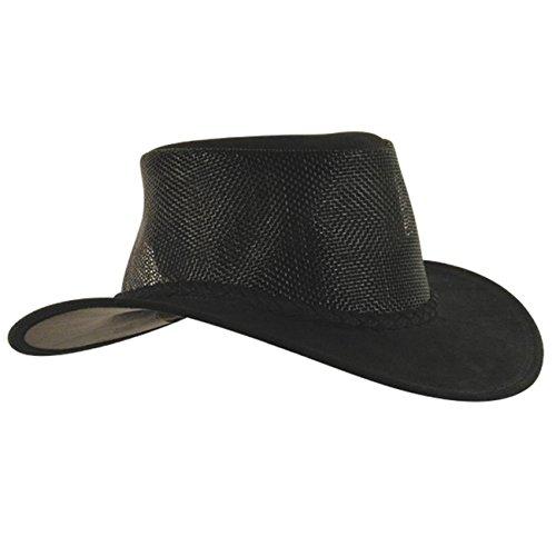 Kakadu Traders Bendigo Chapeau d'extérieur en daim avec empiècement en maille et cordon tressé pour chapeau Taille homme femme - Noir - Large