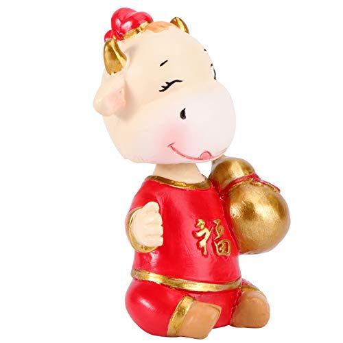 ABOOFAN Puppe 2021 Neujahr Fu Tierkreis Ochse Figur Ornamente Harz Kuh Tier Modell Auto Armaturenbrett Dekorationen für Weihnachten Neujahr Party Gefälligkeiten