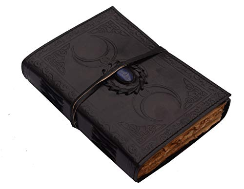 Leather Journal Deckle Edge Paper Book of Shadows Spell Book Triple Moon Notebook Third Eye Stone Unlined Blank Witch Journal Sketchbook Celtic Strap Grimoire Wiccan Journal Personal Diary 7x5 inch