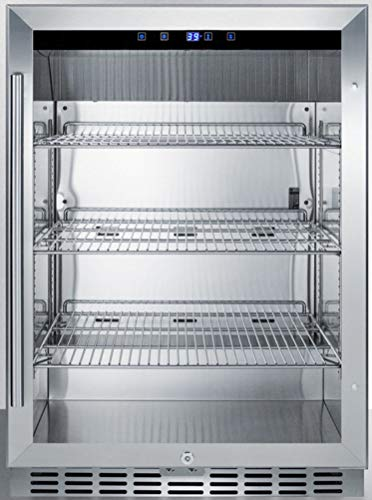 Summit Appliance SCR611GLOS Outdoor Built-in Undercounter Commercial Glass Door Beverage Center with Stainless Steel Interior, Auto Defrost, LED Lighting, Lock and Stainless Steel Cabinet