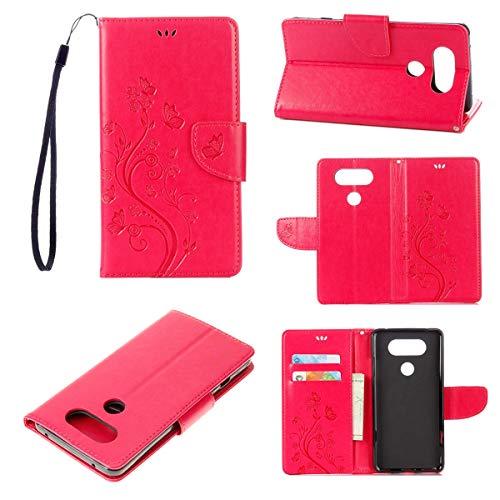 JEEXIA® Schutzhülle Für LG V20, Retro PU Lederhülle Flip Cover Brieftasche Innenschlitzen Mit Stand Schmetterling Gras Muster - Rose rot