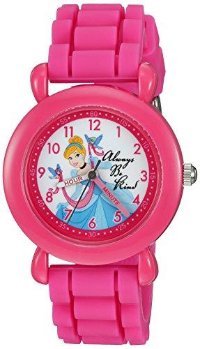 DISNEY Girls' Cinderella Analog-Quartz Watch with Silicone Strap, Pink, 16 (Model: WDS000019)
