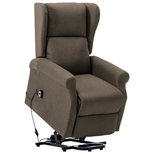 vidaXL Aufstehsessel Elektrisch Sessel mit Aufstehhilfe Liegesessel Fernsehsessel Relaxsessel TV Ruhesessel Polstersessel Taupe Stoff