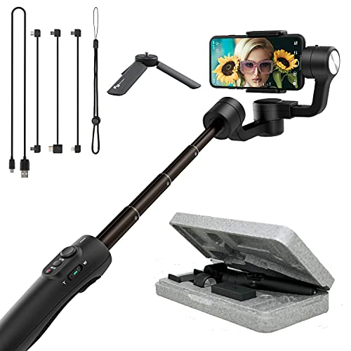 Feiyutech Vimble 2S Smartphone Gimbal Handheld 3-Axis Stabilizer 180mm Extendable for iPhone12/mini 11 X XR Xs 8 7P,Huawei P9,Samsung S8+S9,XIAOMI,with Tripod,Black