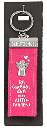Depesche 10890.016 Schlüsselanhänger aus Filz, mit Schutzengel und Aufschrift, Ich beschütze dich beim Autofahren, rosa, ca. 15 cm