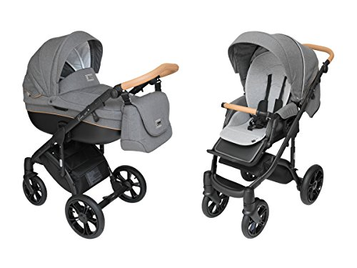 ROAN BASS Soft Stroller 2-in-1 with Bassinet for Baby, Toddler's Five Point Safety Reversible Seat, Swivel Air-Inflated Wheels, Unique Shock Absorbing System and Great Storage Basket (Black Cognac)