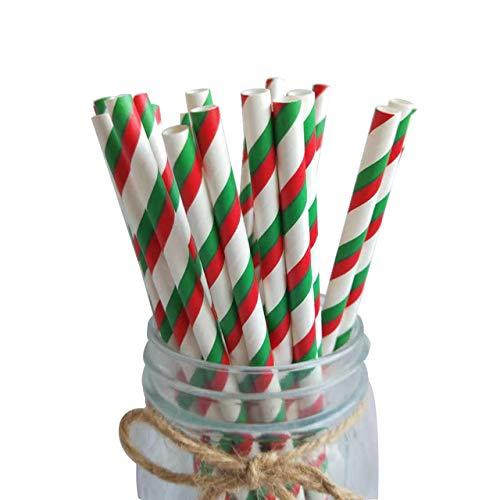 Lifreer Papier-Trinkhalme, 50 Stück, biologisch abbaubar, rot und grün gestreift, Party-Strohhalme für Geburtstag, Hochzeit, Weihnachten, Partyzubehör