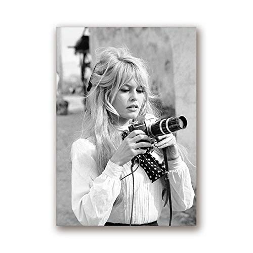 yaofale Kein Rahmen Brigitte Bardot Französisch Mode Poster Leinwand Kunstdrucke Schwarz-Weiß-Modell Foto Vintage Bild Kunst Wand Home Decor 60x90cm