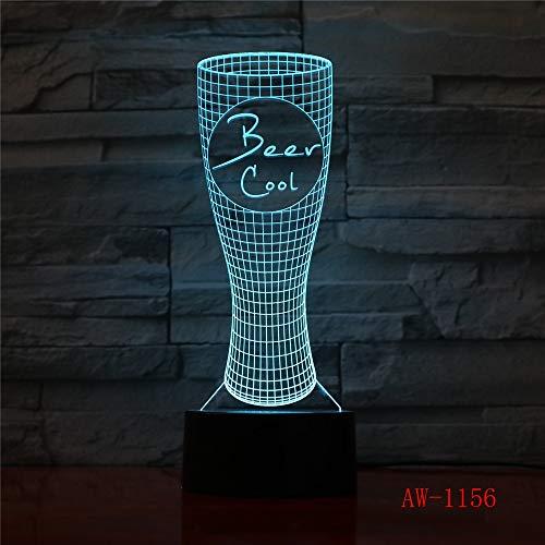 3D Tischlampe Kinder Spielzeug Geschenk Visuelle Nachtlicht LED Farbe Bierglas Modellierung Kinder USB Schlafzimmer Atmosphäre Stimmung Schreibtisch Dekoration XW-Nachtlicht1156