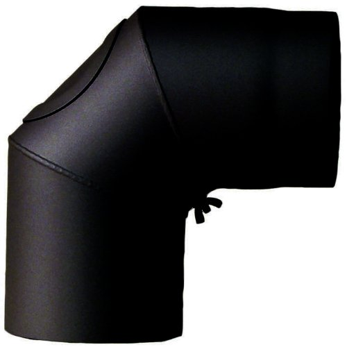 Ofenrohr-Bogen 150 mm, 90 mit Tür, schwarz 2004402