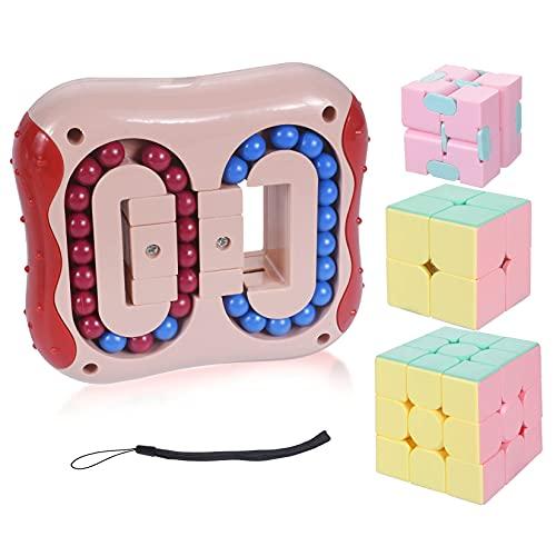 Cube Juguete, Magic Bean Rotating Cube, Relieve Stress Cube Bean Dedo Juguetes para Niños, Juguetes Educativos Magic Cube, Juguete de descompresión para Niños/Adultos (Rosa)