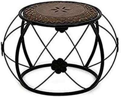 AAYU Handicrafts, Wood n Wrought Iron Stool for Home Decor n Living
