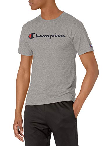 Champion Camiseta clásica para Hombre, Oxford Gris/Champion Script, Large