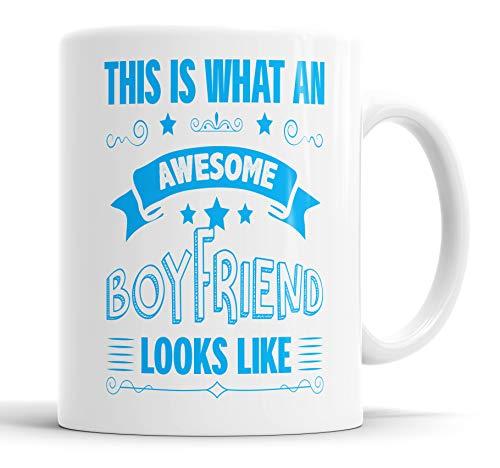 """Taza con texto en inglés """"This is What an Awesome Boyfriend Looks Like humor, broma, regalo para amigos, cumpleaños, Navidad, tazas de cerámica"""