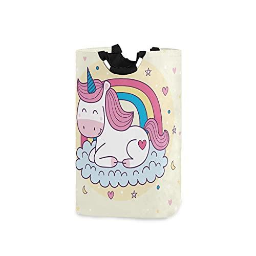 AJINGA Cesta de ropa para niños con asas, plegable, tela para ropa sucia, para mujer, lindo unicornio colorido