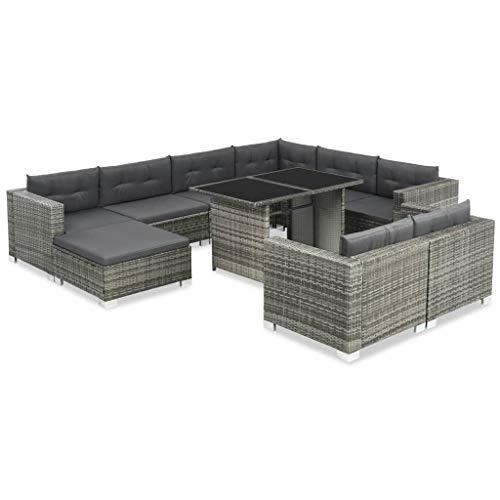 Festnight Gartensofa-Set 28-TLG. | Poly Rattan Lounge Set Lounge Möbel | Lounge Sofa Garnitur | Rattan Gartenmöbel Gartenset | Garten Sitzgruppe | Gartengarnitur | Grau