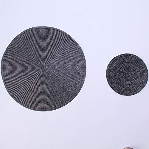 SEOLQX 1 mantel individual redondo tejido PP impermeable mesa de comedor tapete antideslizante servilleta disco tazón almohadillas bebida taza posavasos decoración de cocina negro 38 cm redondo