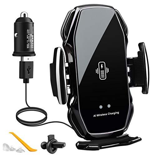 EBXYA Cargador de coche inalámbrico de 10 W/7,5 W para coche con adaptador de cargador de coche QC 3.0, soporte de cargador de coche para teléfono