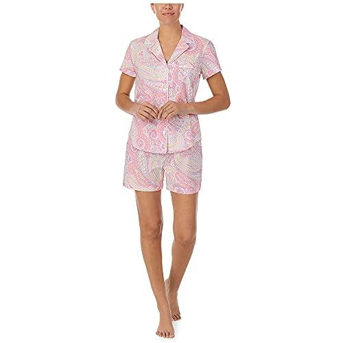 LAUREN HOME Pyjama kurz durchgeknöpft, IILN12079, Pink Paisley, L