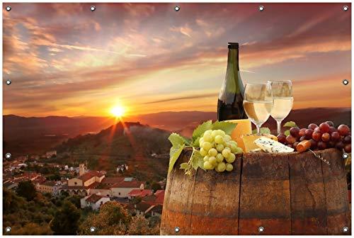 Wallario Garten-Poster Outdoor-Poster, Wein Romantik - Weißwein mit Käse auf Einem Fass in...