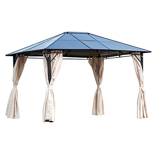 Outsunny 3 x 3.6m Patio Metal Gazebo Sun Shade Hardtop Canopy Party Tent Pavilion Garden Shelter Polycarbonate Roof w/Side Wall Curtain