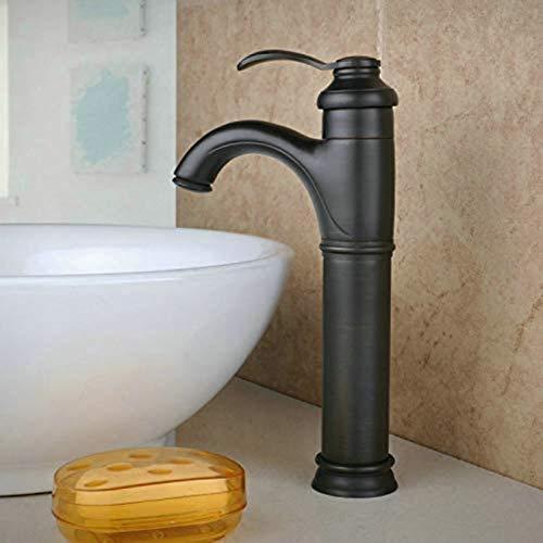 Fashio Grifos de Agua Grifo Monomando de latón Negro, Lavabo Monomando for Lavabo, Grifo Monomando for baño, grifos for Lavabo, Orificio único for Cuerpo Alto