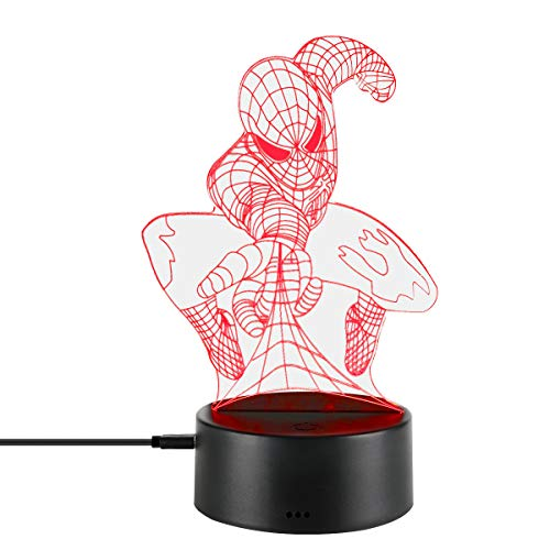 3D Night Lamp Optical Novelty Illusion Led Light Smart Touch Dimmer Lights 7 Color Changing Bedroom Home Decoration Visual RGB Gradient Table Lamps for Kids Gift (Spiderman)