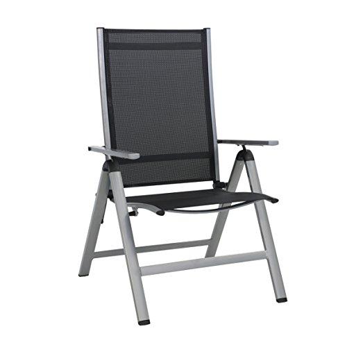 Greemotion Monza Comfort Klapstoel, zilver/zwart, voor binnen en buiten, stoel met in 7 standen verstelbare rugleuning, vuilafstotend en onderhoudsvriendelijk, zitafmetingen: ca. 55 x 42 x 44 cm.