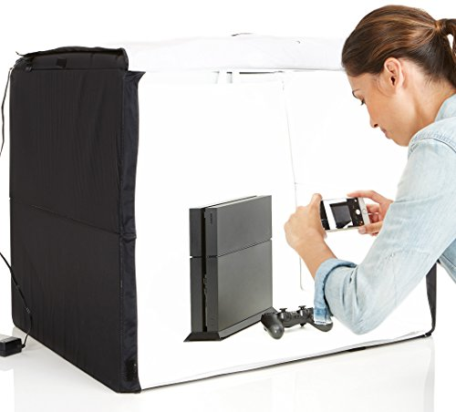 Our #1 Pick is the AmazonBasics Portable Foldable Photo Studio Box with LED Light