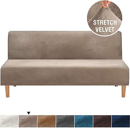 ABUKJM Sofabezug ohne Armlehne, Samtplüsch, für Sofa / Bett / Sitz, für Wohnzimmer / Sofa, universeller elastischer Schonbezug, taupe, L 170-215cm