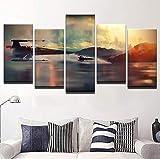 sanjiiNG 5-teiliges Leinwandbild, Motiv: Star War Falcon Poster Malerei, Raumdekoration, 30 x 40 x 2 30 x 60 x 2 x 30 x 80 cm