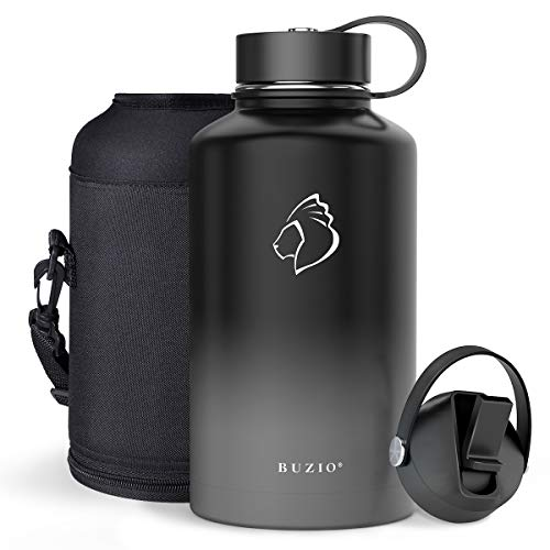 BUZIO Vacuum Insulated Stainless Steel Water Bottle 64oz (Cold for 48 Hrs/Hot for 24 Hrs) BPA Free Double Wall Travel Mug/Flask for Outdoor Sports Hiking, Cycling, Cam,Camping, Running, Admiral