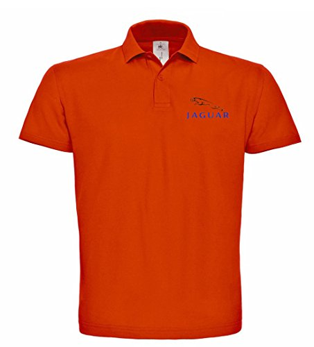 avstickerei JAGUAR bestickte Polo Poloshirt, verschiedene Farben, super Premium-Qualität, 100% Baumwolle hochwertige Stickerei (XL, Orange)