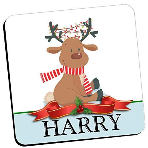 Personalised Christmas Coaster - Any Name Reindeer Drinks Mat (Qty 1) Kids Girls Boys Home, Birthday, Christmas, Secret Santa Stocking Filler Gift Ideas for him her N22