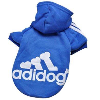 Eastlion Adidog Hund Pullover Welpen-T-Shirt Warm Pullover Mantel Pet Kleidung Bekleidung, Saphirblau, Gr. XXL