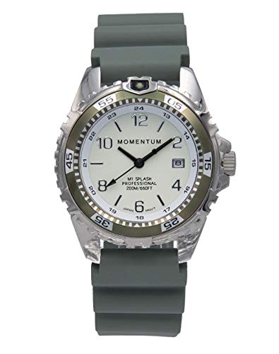 Momentum Damen Quarzuhr M1 Splash by Momentum - Saphir - Stahl Uhren für Frauen - Taucheruhr mit japanischem Uhrwerk & Analog-Display - wasserdichte Damenuhr mit Datumsanzeige - Lume/Khaki Gummi