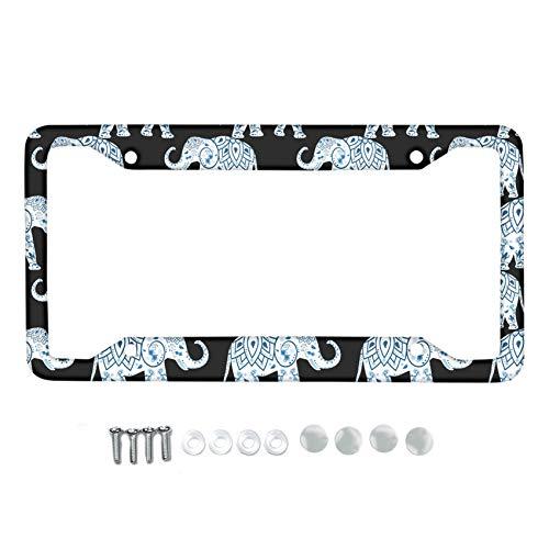 HUGS IDEA Mandala Style Boho Elephant Pattern License Plate Frame Holder Metal License Plate Frame for US Standards Included 4 Holes 4 Screws