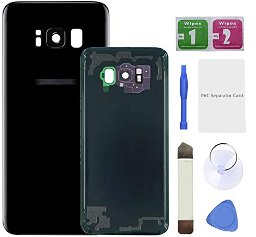 Eonpam Tapa batería Vidrio Trasera Reemplazo para(Samsung Galaxy S8+ Plus) Kit reparación Original Cristal Trasero con Lente de cámara (Negro)