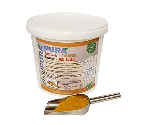 FOOD PURA 3KG Bucket FOOD Grade Turmeric, Termeric Powder - Human FOOD Grade Also used for Equine, Horse Animal Feed Supplement - FRESH Stock from India!