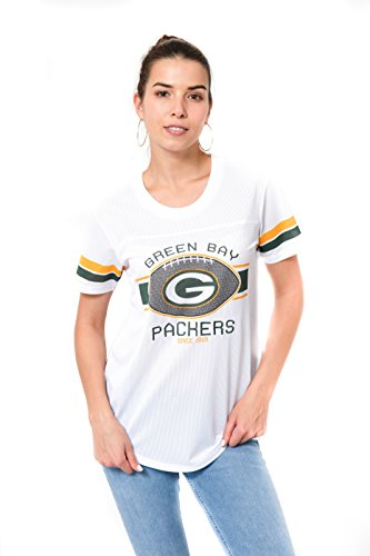 Ultra Game NFL Green Bay Packers Womenss Soft Mesh Jersey Varsity Tee Shirt, White, X-Large