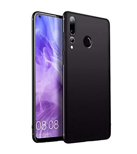 Olliwon Funda Compatible Huawei P30 Lite, Ultra Fina TPU Gel Carcasa Anti-Arañazos y Antideslizante 360 Protección a Bordes y Cámara Cover Case para Huawei P30 Lite - Negro Mate