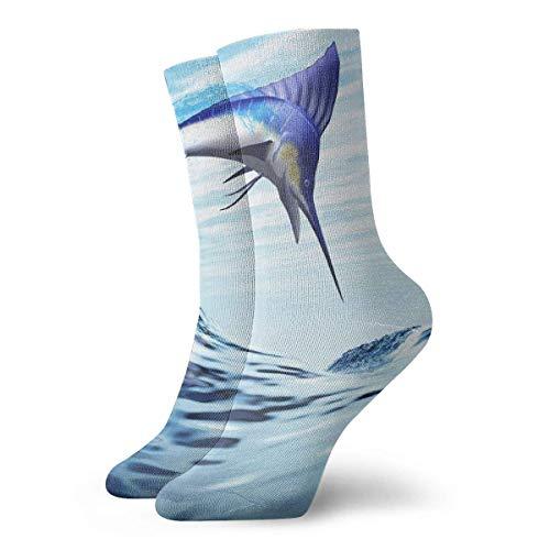 Kevin-Shop Schöne Blaue Thunfisch Springkissen Crew Socken Essential Sport Wicking Arbeit für Männer und Frauen