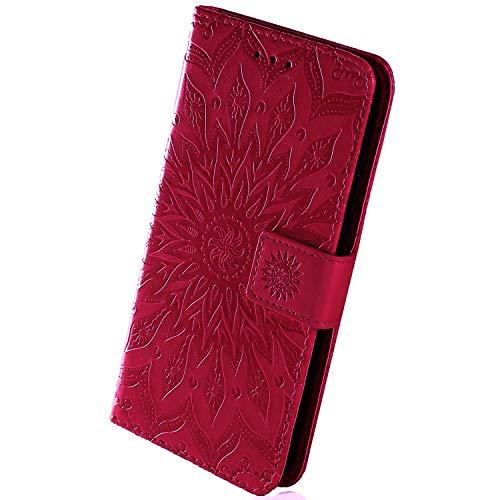 Herbests Kompatibel mit Samsung Galaxy J4 Core Handyhülle Handytasche Leder Hülle Blumen Leder Schutzhülle Flipcase Brieftasche Hülle Wallet Tasche Kartenfach Magnetisch Handschlaufe, Hot Pink